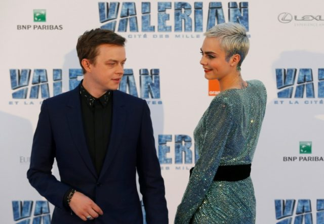 Big in China: Dane DeHaan and Cara Delevingne at the pre-premiere of 'Valerian and The City of a Thousand Planets' north of Paris last July.