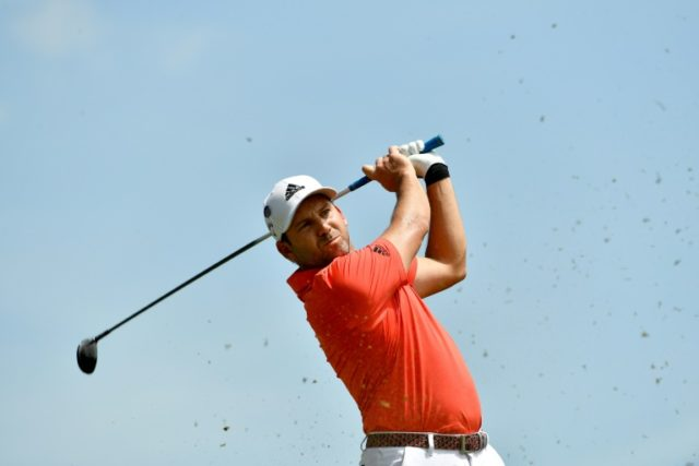 This handout photo from the Asian Tour shows Garcia hitting a shot during the final round of the Singapore Open