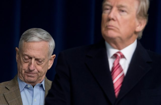 US Defense Secretary Jim Mattis (L) appears with President Donald Trump at a retreat with top Republicans at Camp David in Maryland earlier this month