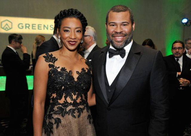 """Get Out"" showrunner Jordan Peele, seen here with actress Betty Gabriel, was recognized for making a film that raises awareness of social issues and talked about ""the sunken place,"" the term used for a brainwashed state that traps victims in his movie"