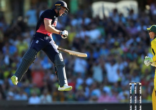 Buttler jumps for joy as he reaches his century