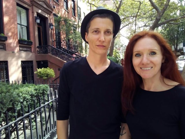 Julian P. Boom (l) and Fleur Pierets posing in New York, last August, where the couple got married
