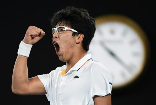 """Nicknamed """"The Professor"""" due to his trademark glasses, South Korea's Chung Hyeon is in electric form reaching the quarter-finals after the biggest win of his career against Novak Djokovic"""