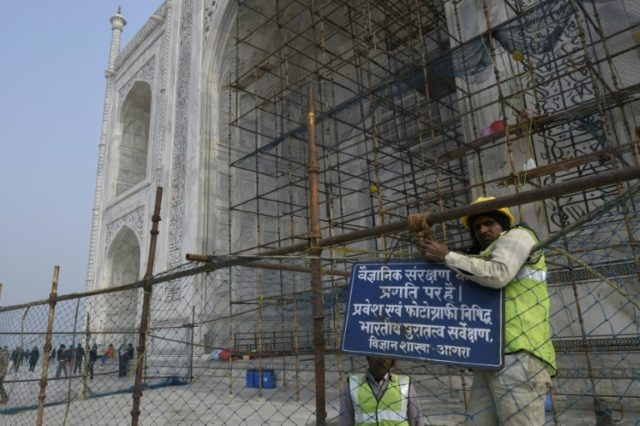 Restoration work at India's most popular tourist attraction has been dragging on for years, blighting views for tourists, but authorities have not even begun work on the unmissable centrepiece of the 17th-century icon -- its imposing dome