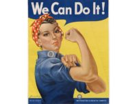 "The 1942-1943 US wartime propaganda poster featuring ""Rosie the Riveter,"" which celebrated the work of women during World War II"