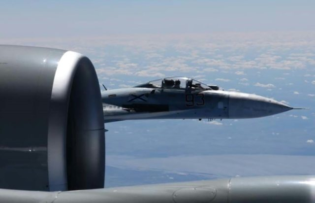 This file photo shows a Russian SU-27 Flanker fighter jet photographed from a US Air Force reconnaissance plane over the Baltic Sea last year