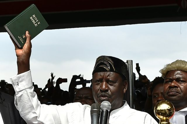 Kenya opposition leader Odinga has himself sworn in as 'president'