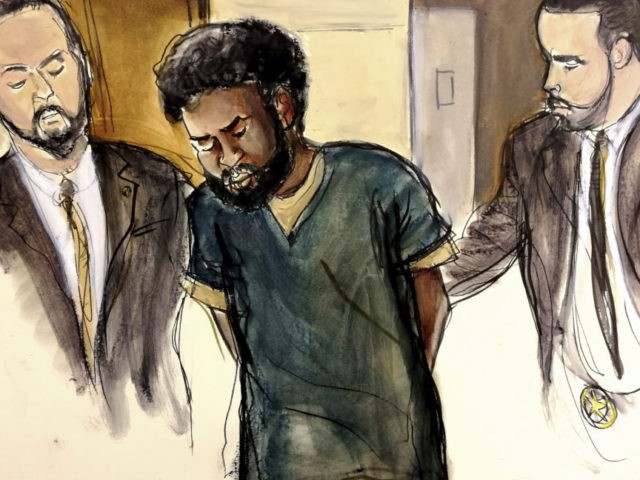 Akayed Ullah In this court room drawing, U.S. Marshals escort defendant Akayed Ullah, center, into court for his arraignment on charges that include providing material support to a terrorist organization and using a weapon of mass destruction, Thursday, Jan. 11, 2018 in New York. On Dec. 11, 2017, authorities say that Ulla detonated a pipe bomb on his person in a corridor linking the subway to the Port Authority bus terminal in New York City. (Elizabeth Williams via AP)