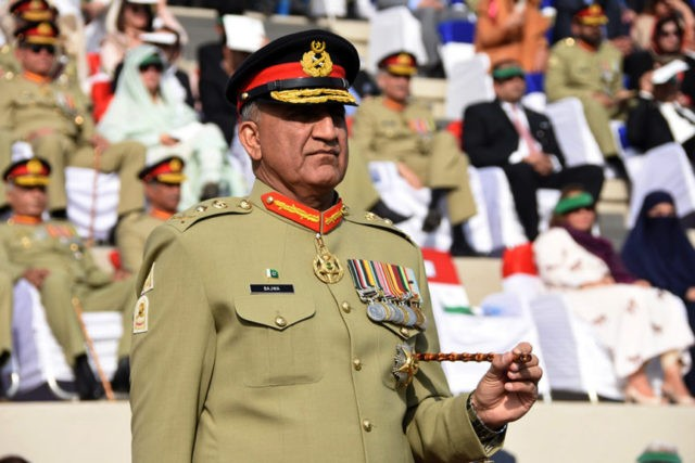 Services Public Relations the public relations arm of the Pakistani army Pakistani Army Chief Gen. Qamar Javed Bajwa attends the Change of Command ceremony in Rawalpindi Pakistan. Bajwa says