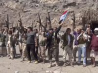 This frame grab from video shows fighters loyal to the separatist so-called Southern Transitional Council, backed by the United Arab Emirates, chanting after taking control of Mount Hadid in Aden which was controlled by forces loyal to President Abed Rabbo Mansour Hadi, in Aden Yemen, Tuesday, Jan. 30, 2018. The …