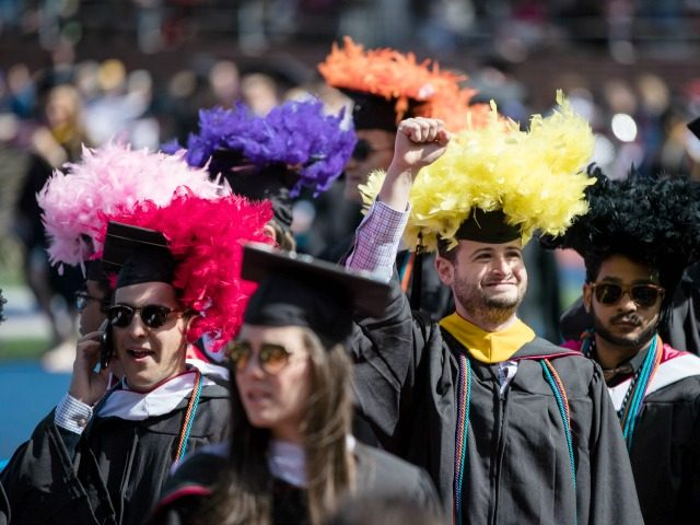 A student gestures during the University of Pennsylvania commencement ceremony, in Philadelphia, Monday, May 15, 2017.
