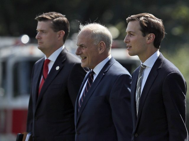 From left White House Staff Secretary Rob Porter White House Chief of Staff John Kelly and White House senior adviser Jared Kushner walk to Marine One on the South Lawn of the White House in Washington Friday Aug. 4 2017. President Donald Trump is