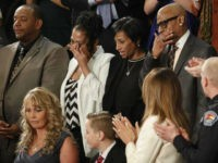From top left, Robert Mickens, Elizabeth Alvarado, Evelyn Rodriguez, Freddy Cuevas, parents of two Long Island teenagers who were believed to have been killed by MS-13 gang members, during the State of the Union address Jan. 30, 2018. (AP)