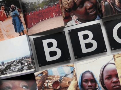 A logo of the British Broadcasting Corporation (BBC), the British public service broadcaster, is pictured at the East African Bureau on February 1, 2018 office in Nairobi. BBC launched on January 29, 2018, new daily radio services producing news, current affairs, features and English language training for Ethiopians and Eritreans. …