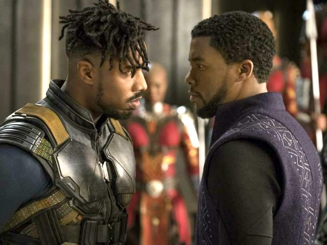 Michael B. Jordan, Chadwick Boseman, and Sydelle Noel in Black Panther (Marvel Studios, 2018)
