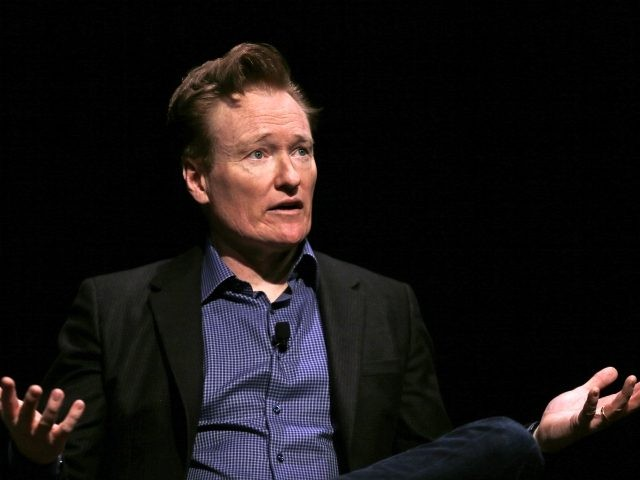 Television host Conan O'Brien at Sanders Theatre on the campus of Harvard University in Cambridge, Friday, Feb. 12, 2016. O'Brien, who graduated from the school in 1985, shared a conversation with Harvard President Drew Faust and an audience of guests. (AP Photo/Charles Krupa)