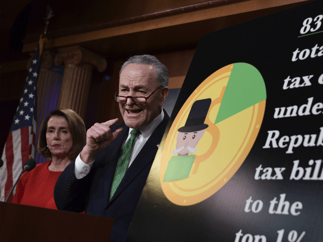 Senate Minority Leader Sen. Chuck Schumer of N.Y., right, standing with House Minority Leader Nancy Pelosi of Calif., speaks at a news conference on Capitol Hill in Washington, Wednesday, Dec. 20, 2017, on the passage of legislation that overhauls U.S. tax law. The massive $1.5 trillion tax package affects everyone's taxes but is dominated by breaks for business and higher earners. Democrats call the legislation a boon to the rich that leaves middle-class and working Americans behind. (AP Photo/Susan Walsh)