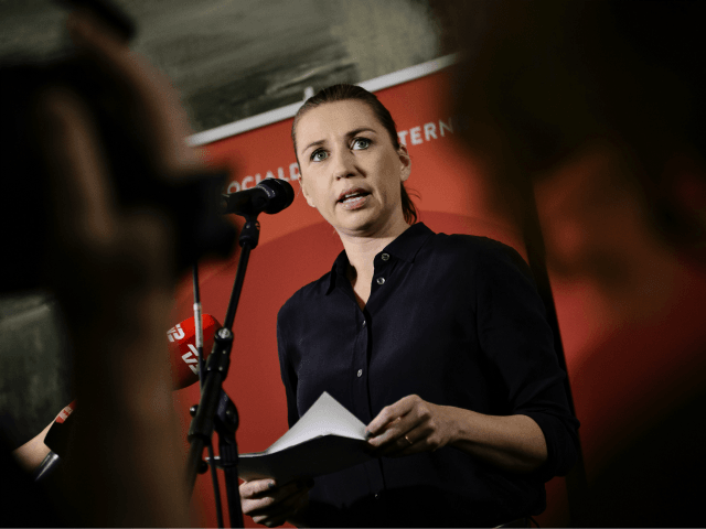 Mette Frederiksen from The Social Democrats, speaks at Christiansborg in Copenhagen on Thursday, Dec. 3, 2015.