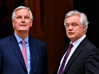 LONDON, ENGLAND - FEBRUARY 05: European Chief Negotiator for the United Kingdom Exiting the European Union Michel Barnier (L) and Brexit Secretary David Davis walk in Downing Street ahead of a meeting on February 5, 2018 in London, England. Following claims of disunity within the Government, Prime Minister Theresa May …
