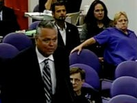 This Feb. 18, 2015 image taken from video provided by Broward County Public Schools shows school resource officer Scot Peterson during a school board meeting of Broward County, Fla. During the shootings at Marjory Stoneman Douglas High School on Feb. 14, 2018, Peterson took up a position viewing the western …