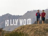 Garcetti and Trudeau in Hollywood Hills (Damian Dovarganes / Associated Press)