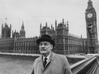 Controversial politician Enoch Powell pictured on Westminster Bridge in view of the Houses of Parliament as he prepares to return to the House of Commons following his resignation from the Conservative Party, London, October 23rd 1975. (Photo by Roger Jackson/Central Press/Getty Images)