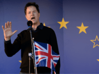 Britain's former Deputy Prime Minister, and former Leader of the Liberal Democrats, Nick Clegg, speaks during a rally following an anti Brexit, pro-European Union (EU) march in London on March 25, 2017, ahead of the British government's planned triggering of Article 50 next week. Britain will launch the process of leaving the European Union on March 29, setting a historic and uncharted course to become the first country to withdraw from the bloc by March 2019. / AFP PHOTO / CHRIS J RATCLIFFE (Photo credit should read CHRIS J RATCLIFFE/AFP/Getty Images)