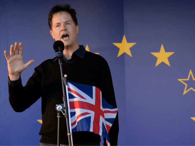 Britain's former Deputy Prime Minister, and former Leader of the Liberal Democrats, Nick Clegg, speaks during a rally following an anti Brexit, pro-European Union (EU) march in London on March 25, 2017, ahead of the British government's planned triggering of Article 50 next week. Britain will launch the process of …