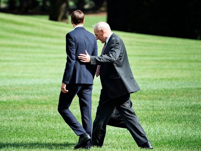 Senior Advisor Jared Kushner (L) and newly appointed White House Chief of Staff John Kelly follow US President Donald Trump to Marine One on the South Lawn of the White House August 3, 2017 in Washington, DC. Special counsel Robert Mueller has impaneled a grand jury to investigate Russia's interference …