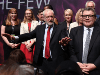 Labour party leader Jeremy Corbyn (C) gestures as Shadow Secretary of State for Education Angela Rayner (L) and Deputy Labour party leader Tom Watson (R) look on in the main hall, on day three of the annual Labour Party Conference on September 26, 2017 in Brighton, England. (Photo by Leon …