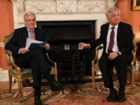 LONDON, ENGLAND - FEBRUARY 05: European Chief Negotiator for the United Kingdom Exiting the European Union, Michel Barnier, (L) and Brexit Secretary David Davis meet for talks in Downing Street on February 5, 2018 in London, England. Following claims of disunity within the Government, Prime Minister Theresa May has insisted …