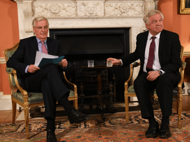 LONDON, ENGLAND - FEBRUARY 05: European Chief Negotiator for the United Kingdom Exiting the European Union, Michel Barnier, (L) and Brexit Secretary David Davis meet for talks in Downing Street on February 5, 2018 in London, England. Following claims of disunity within the Government, Prime Minister Theresa May has insisted Britain will leave the customs union after Brexit. (Photo by Stefan Rousseau - WPA Pool/Getty Images)