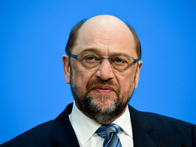 Martin Schulz, leader of the Social Democratic SPD party, gives a press conference in Berlin on February 7, 2018, after conservatives and the Social Democrats sealed a deal on a new coalition, potentially ending four months of political standstill in Europe's top economy. / AFP PHOTO / Tobias SCHWARZ (Photo …
