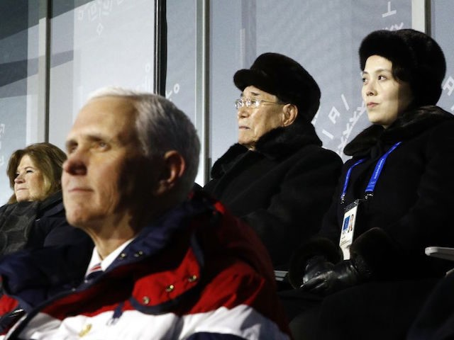 PYEONGCHANG-GUN, SOUTH KOREA - FEBRUARY 09: Kim Yo Jong, top right, sister of North Korean leader Kim Jong Un, sits alongside Kim Yong Nam, president of the Presidium of North Korean Parliament, and behind U.S. Vice President Mike Pence as she watches the opening ceremony of the 2018 Winter Olympics …