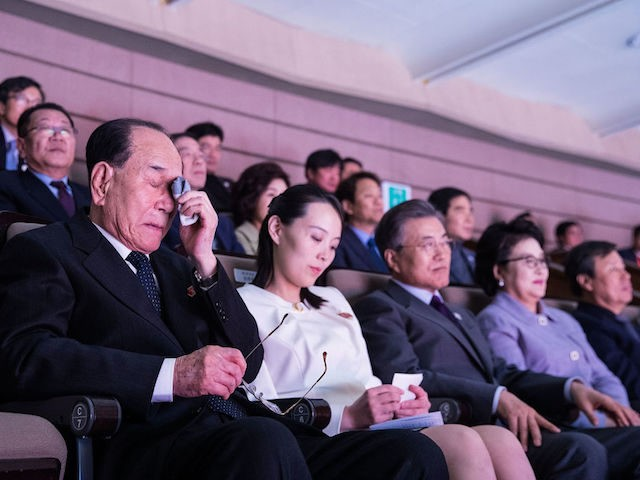 SEOUL, SOUTH KOREA - FEBRUARY 11: In this handout image provided by the South Korean Presidential Blue House, North Korea's nominal head of state Kim Yong-Nam (L) weeps while watching a performance of North Korea's Samjiyon Orchestra with Kim Yo-Jong, North Korean leader Kim Jong-Un's sister and South Koran President …