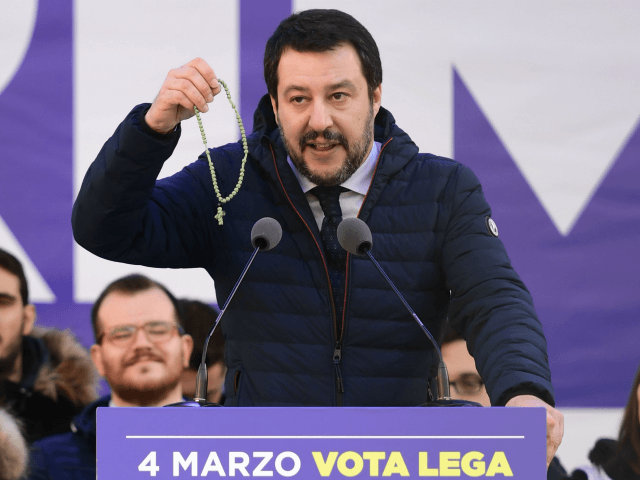 Lega Nord far right party leader Matteo Salvini holds a rosary during campaign rally on Piazza Duomo in Milan on February 24, 2018, a week ahead of the Italy's general election. Italy stepped up security for mass demonstrations by far-right and anti-fascist groups across the country on February 24, 2018 …