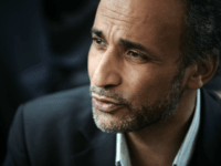 Muslim French intellectual Tariq Ramadan participates in a conference untitled 'living together' on April 25, 2010 at El Arhama mosque in Nantes, western France. Ramadan said that French Interior minister Brice Hortefeux 'betrays French values' by saying that a French muslim, companion of a woman fined for driving wearing a …