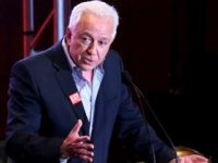 GUESS Foundation president Paul Marciano speaks on stage at the GUESS Foundation and Peace Over Violence Denim Day Cocktail Event at at MOCA Grand Avenue on March 22, 2016 in Los Angeles, California. (Photo by Ari Perilstein/Getty Images for GUESS)