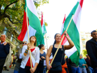 Supporters of the Hungarian government hold the Hungarian flag as they march to commemorate the 1956 uprising against Soviet occupation in Budapest, Hungary on October 23, 2013.