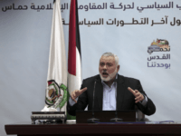 "Palestinian Hamas top leader Ismail Haniyeh, gives a speech during a press conference in his office in Gaza City, Tuesday, Jan. 23, 2018. Haniyeh says that U.S. Vice President Mike Pence's tour in Israel was ""unwelcome,"" adding that his speech before the Israeli parliament a day earlier ""proves the USA …"