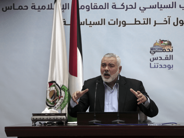 "Palestinian Hamas top leader Ismail Haniyeh, gives a speech during a press conference in his office in Gaza City, Tuesday, Jan. 23, 2018. Haniyeh says that U.S. Vice President Mike Pence's tour in Israel was ""unwelcome,"" adding that his speech before the Israeli parliament a day earlier ""proves the USA has a strategic alliance with the Zionist entity."" (AP Photo/ Khalil Hamra)"