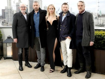 Francis Lawrence, Matthias Schoenaerts, Jennifer Lawrence, Joel Edgerton and Jeremy Irons during the 'Red Sparrow' photocall at The Corinthia Hotel on February 20, 2018 in London, England. (Photo by John Phillips/John Phillips/Getty Images)