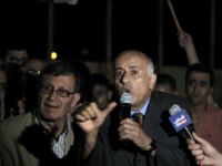 Palestinian football chief Jibril Rajoub (C) speaks to the press upon his arrival in the West Bank city of Jericho on June 1, 2015, following the FIFA presidential race. Palestine, which has been a FIFA member since 1998, had wanted the governing body to expel Israel over its restrictions on …