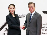 This photo taken on February 10, 2018 and released February 11 by North Korea's official Korean Central News Agency (KCNA) shows South Korea's President Moon Jae-in (R) posing with North Korean leader Kim Jong Un's sister Kim Yo Jong (L) before their meeting at the presidential Blue House in Seoul. …
