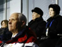 Kim Yo Jong, top right, sister of North Korean leader Kim Jong Un, sits alongside Kim Yong Nam, president of the Presidium of North Korean Parliament, and behind U.S. Vice President Mike Pence as she watches the opening ceremony of the 2018 Winter Olympics in Pyeongchang, South Korea, Friday, Feb. …