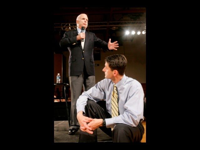 Republican presidential candidate, Sen. John McCain, R-Ariz., left, speaks at a town hall meeting with Rep. Paul Ryan, R-Wisc., at Greendale Martin Luther High School Thursday, May 29, 2008, in Greendale, Wisc. (AP Photo/Jeff Chiu)