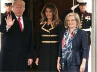 U.S. President Donald Trump (2nd L) and first lady Melania Trump (3rd L) welcome Australian Prime Minister Malcolm Turnbull (L) and his wife Lucy Turnbull (R) during an arrival at the South Lawn of the White House February 23, 2018 in Washington, DC. Prime Minister Turnbull is on a visit …