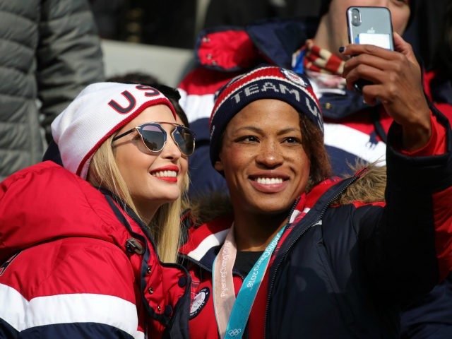 Ivanka Trump poses for a selfie with Lauren Gibbs as they attend the 4-man Boblseigh on day sixteen of the PyeongChang 2018 Winter Olympic Games at Olympic Sliding Centre on February 25, 2018 in Pyeongchang-gun, South Korea. (Photo by Andreas Rentz/Getty Images)