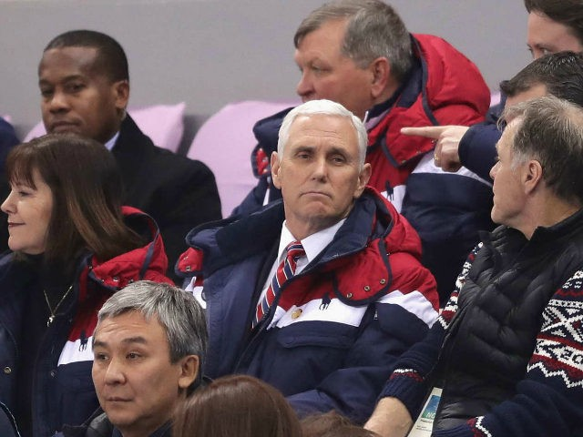 U.S. Vice President Mike Pence, wife Karen Pence and Fred Warmbier attend the Men's 1500m Short Track Speed Skating qualifying on day one of the PyeongChang 2018 Winter Olympic Games at Gangneung Ice Arena on February 10, 2018 in Gangneung, South Korea. (Photo by Richard Heathcote/Getty Images)