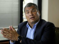 Former Ecuadorean president Rafael Correa (2007-2017) speaks during an exclusive interview with AFP in Quito on January 19, 2018. Correa warned that the asylum he gave in 2012 to the founder of Wikileaks the Australian Julian Assange, would be close to an end if Ecuadorean President Lenin Moreno wins the …